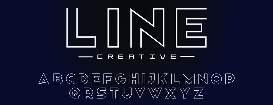 Double line monogram alphabet and tech fonts. Lines font regular uppercase and lowercase. Vector illustration.
