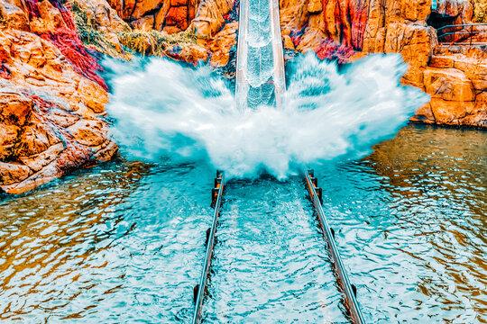 "PORT-AVENTURA , SPAIN - SEPT 06 : ""Tutuki Splash""amusement. Most huge amusement park in Europe-Port Aventura. September 06, 2014 in Port-Aventura, Salou, Spain."