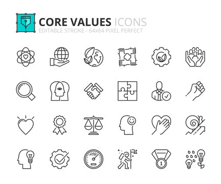 Simple set of outline icons about core values. Business concepts