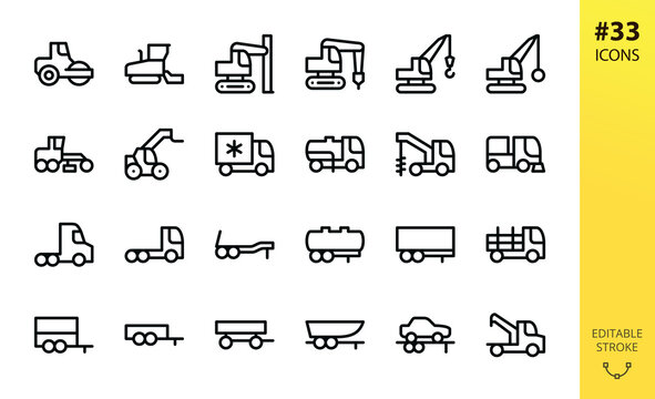 Special equipment, trucks and trailers isolated icons set. Set of asphalt roller, crawler crane, wrecking ball excavator, grader, telescopic loader, sewer pumping machine, semi trailer vector icon