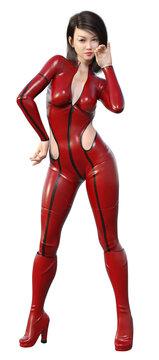 Attraktive junge Frau posiert im futuristischen Outfit, Freisteller