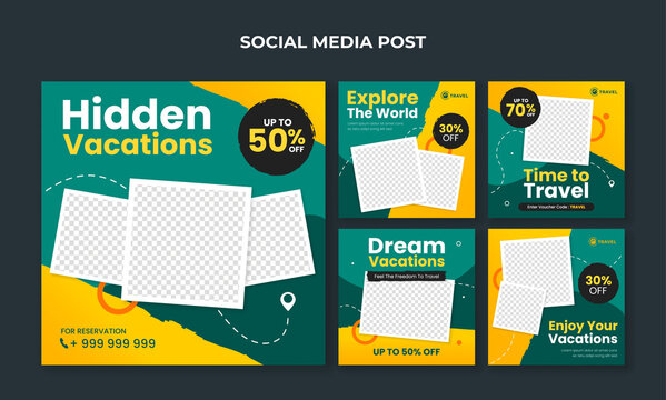 Travel and tourism banner for social media post template