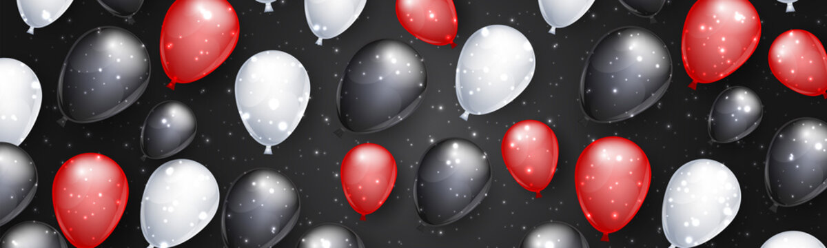 Black Friday Big Sale design concept. Background with shiny realistic balloons. Vector illustration.
