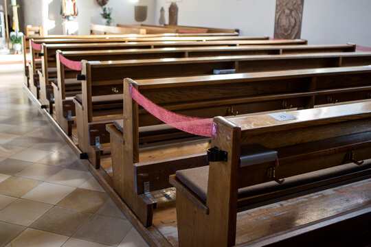 Social distancing in christian church during the coronavirus pandemic Covid-19