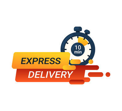 Express delivery vector banner. Stopwatch on 10 min.