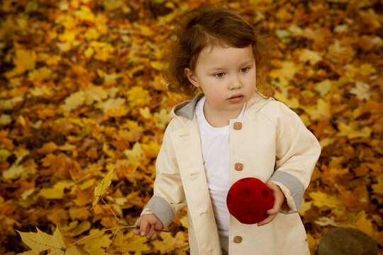 Cute baby girl in a beige coat in an autumn park