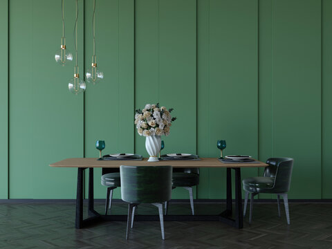 3d rendering of contemporary dining room with green wall