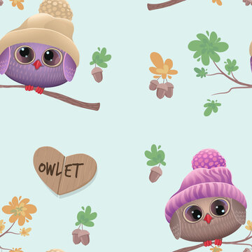 Cute owlets in warm hats. Seamless pattern. Cheerful autumn owls sit on oak branches with acorns