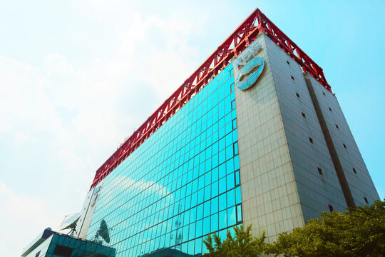 SEOUL, SOUTH KOREA - AUGUST 14, 2015: Headquater building of Korean Broadcasting System - KBS - located at Yeouido island - Seoul, South Korea