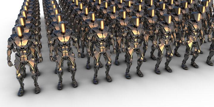 ganz viele humanoide Roboter