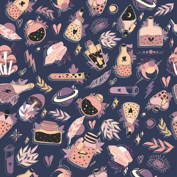 Witchcraft themed symbols and elements. Magic and celestial inspired Seamless Pattern.  Halloween Concept. Gift Packaging. Hand drawn vector doodle illustration. Background for witches and wizards