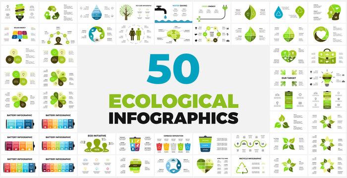 50 Ecological Infographic templates. Presentation slides.