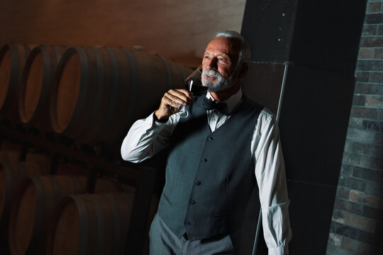 Elegant senior man drinking wine in his wine cellar