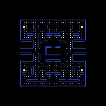 Illustration scene of old video game Pacman's maze or labyrinth, illustration vector, editorial content