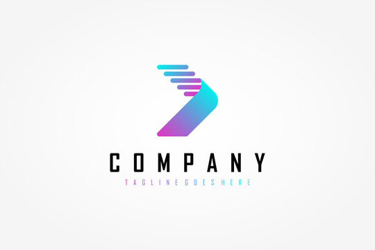 Right Arrow Logo. Light Blue and Purple Gradient Geometric Arrow Shape with Striped Lines Origami Style. Usable for Business and Technology Logos. Flat Vector Logo Design Template Element.