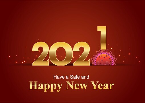 happy new year 2021 golden letter with red background. covid-19, corona virus concept