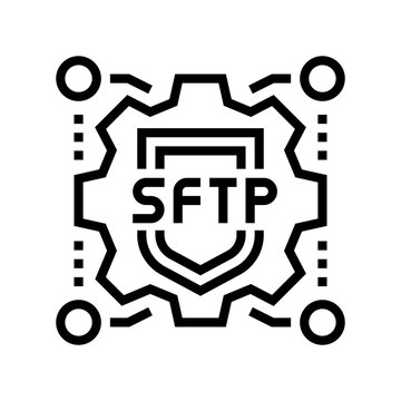 sftp label line icon vector. sftp label sign. isolated contour symbol black illustration