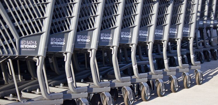 Hialeah,Florida August 06,2019 Bed Bath and Beyond  shopping carts lined up in front of store. Now more than 1,020 Bed Bath & Beyond stores across the nation