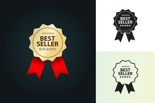 best seller badge with stars and ribbon vector illustration, symbol, icon,