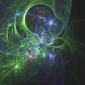 Abstract fractal, space and science background, 3D illustration