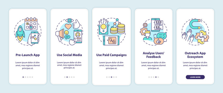 App marketing tips onboarding mobile app page screen with concepts. Pre launch app showing walkthrough 5 steps graphic instructions. UI vector template with RGB color illustrations