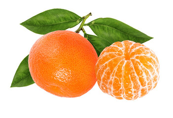 Leinwandbilder - Mandarin, tangerine citrus fruit with leaf isolated on white background