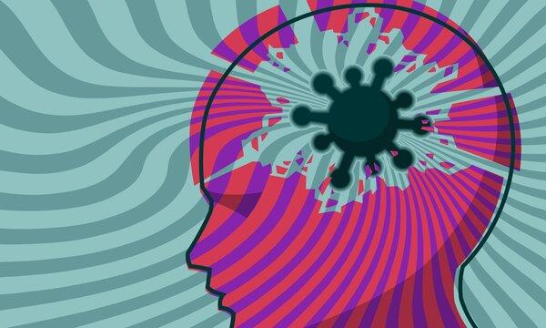 coronavirus mental and wellbeing health impact covid virus cell in head breakdown