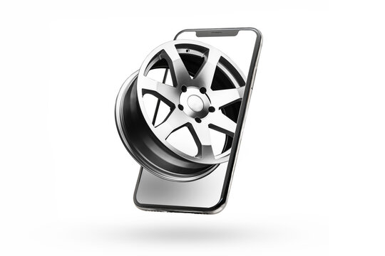 phone and alloy wheels, online delivery of auto parts and tires. Isolate on a white background