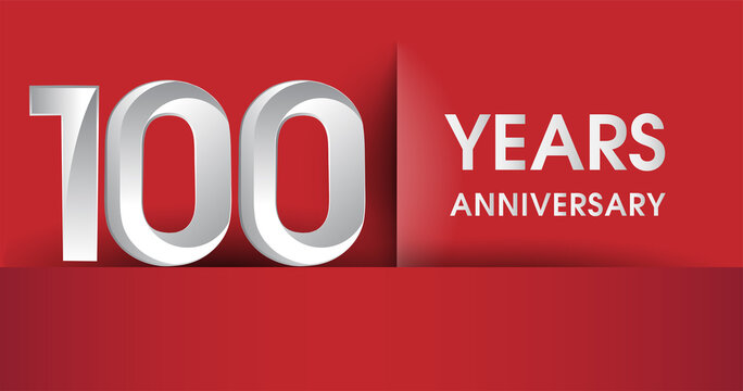 100th Years Anniversary celebration logo, flat design isolated on red background, vector elements for banner, invitation card and birthday party.