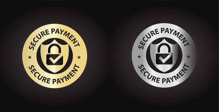 secure payment, secure transaction button icon, golden, silver  vector illustration with lock pad and tick mark