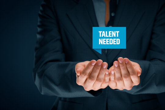 Talent needed concept with hand