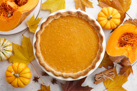 Traditional pumpkin pie for Thanksgiving day. Holiday dessert.
