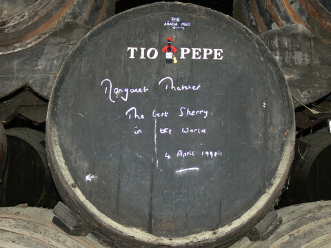 erez, Spain - June 13 2006: Tio Pepe is the favourite sherry brand of Margaret Thatcher, former British Prime Minister. Her handwriting is on a sherry barrel in the Tio Pepe sherry cellar.