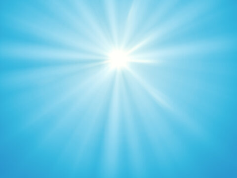 blue sky sun rays background