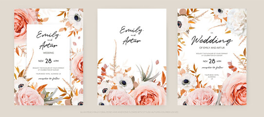 Fototapeta Vector floral autumn wedding invite card template set. Lush fall leaves, blush peach, pink and ivory roses, white anemone flowers bouquet decorative watercolor style stylish frame. Editable & isolated obraz