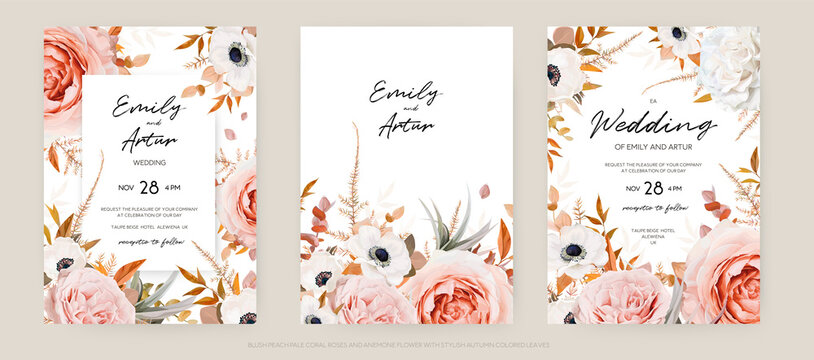 Vector floral autumn wedding invite card template set. Lush fall leaves, blush peach, pink and ivory roses, white anemone flowers bouquet decorative watercolor style stylish frame. Editable & isolated