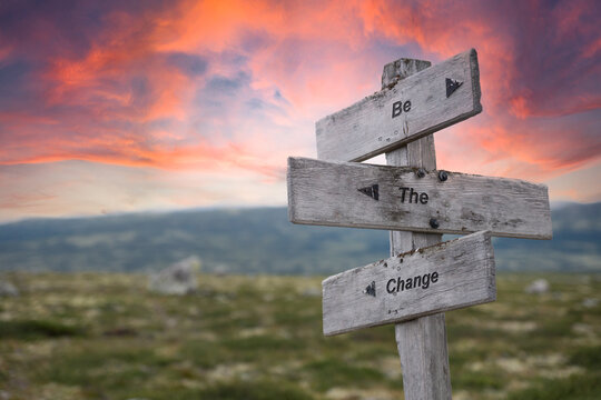 be the change text engraved in wooden signpost outdoors in nature during sunset and pink skies.