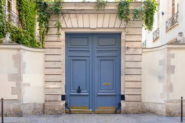 Paris, an old wooden door in the Marais