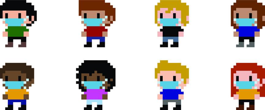 Cute 8-bit pixel people wearing face mask