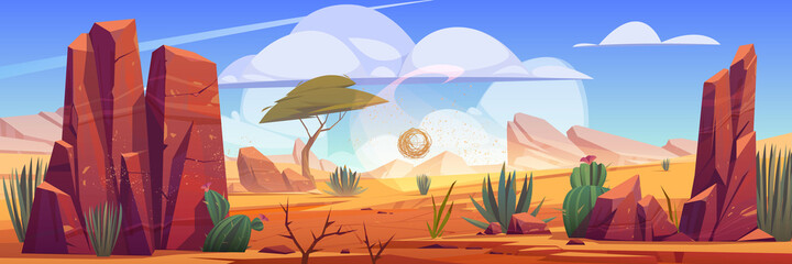 Desert of Africa natural background with tumbleweed rolling along hot dry deserted african nature landscape with yellow sand, green cacti, rocks under blue sky with light clouds cartoon illustration Fotobehang