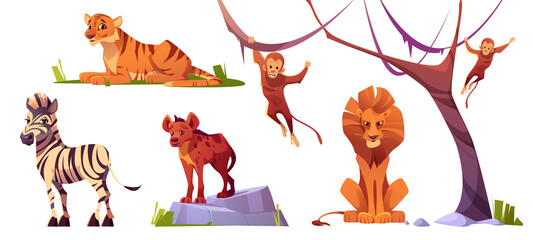 Cartoon wild animals tiger, monkeys, hyena, zebra and lion with ape. Jungle inhabitants predators and herbivorous in zoo park or safari outdoor area. Beasts in fauna, isolated vector illustrations set