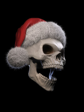 Laughing skull wearing a red Santa hat with white fur