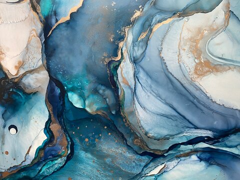 Abstract blue backgroud with plisse made with alcohol ink and gold pigment