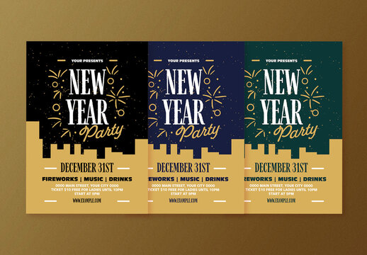 Multicolor New Year Celebration Flyer Layout
