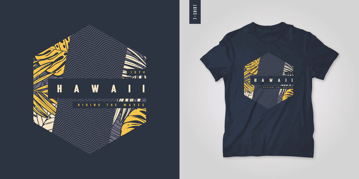 Hawaii. T-shirt geometric floral vector design, poster, print, template