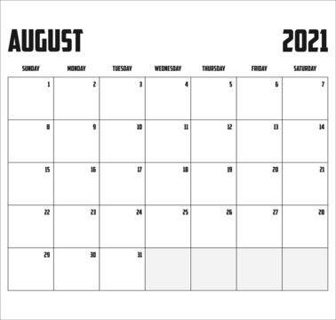 2021 Calendar Isolated on Background