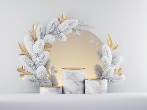 3d render, Christmas white gold background with empty marble pedestal steps and round frame decorated with spruce twigs and ornaments. Seasonal championship chart mockup for product presentation