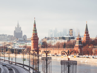 Panorama view on Kremlin, skyscrapers and Moscow-river. Winter sunset in Moscow, Russia.