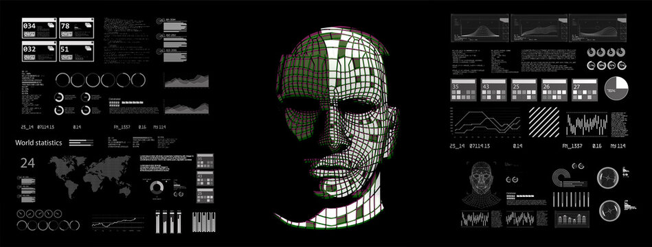 AI system in hologram human head with HUD display elements. Artificial Intelligence for VR with tech shapes HUD, GUI, UI. Biometric technology, face recognition systems. Vector illustration