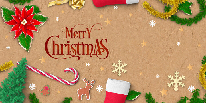 christmas decoration with message MERRY CHRISTMAS on paper background